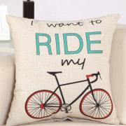 housse de coussin pour amoureux de vélos