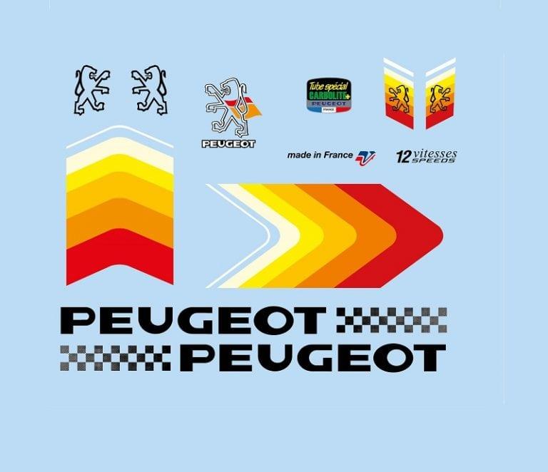 set stickers elo course vintage peugeot