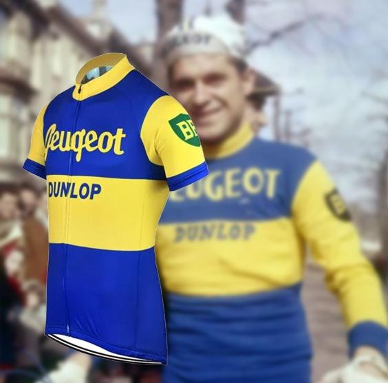 maillot cycliste vintage peugeot dunlop