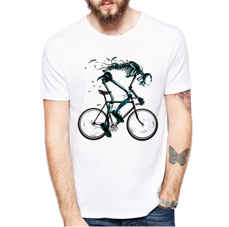 tshirt squelette vélo course piste hell rider fixie