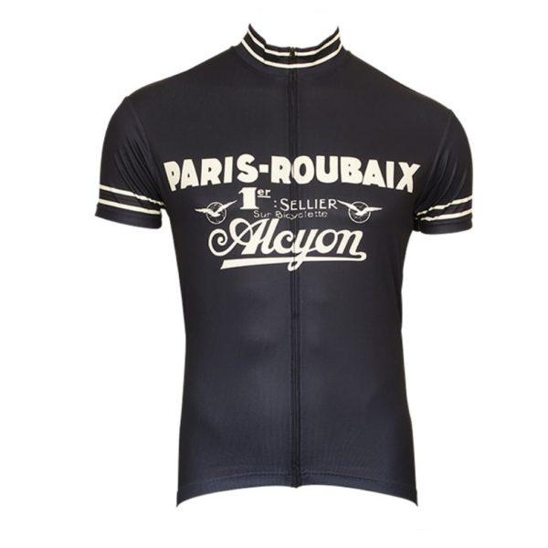 maillot vélo paris roubaix alcyon vintage noir retro cyclisme