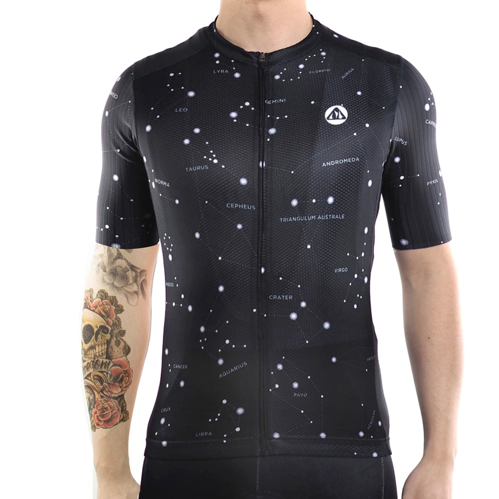 maillot cyclisme original homme noir constellations