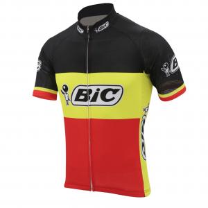 maillot bic tricolore belgique belge noir jaune rouge vélo cyclisme vintage