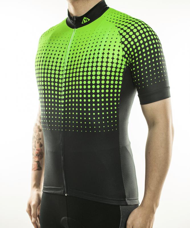 maillot cyclisme vert fluorescent nuit vélo brille nuit
