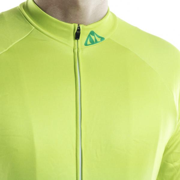 maillot cyclisme vélo manches longues mi-saison jaune fluo