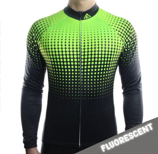 maillot cyclisme vélo manches longues mi-saison jaune fluorescent nuit