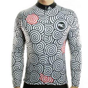 maillot cyclisme vélo manches longues mi-saison noir blanc