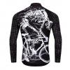 maillot cyclisme vélo manches longues mi-saison noir crâne