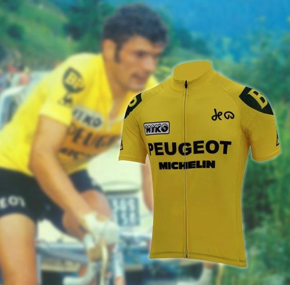 maillot cycliste vintage peugeot jaune thevenet